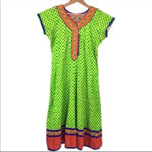 Vintage Green and Red Embroidered Dress